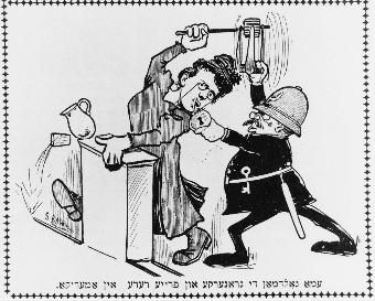 Cartoon from Der Grosse Kundes (The Big Stick), November 1909. Courtesy of the Emma Goldman Papers.